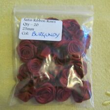 LARGE Satin Ribbon Rose - 25mm.  Packet of 20!  BURGUNDY  **NEW** Free P&P