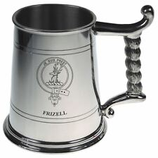Frizell Crest Tankard with Rope Handle in Polished Pewter 1 Pint Capacity