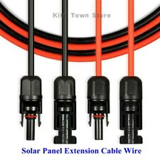 US 1 Pair Black + Red Solar Panel Extension Cable Wire Connector 10 AWG