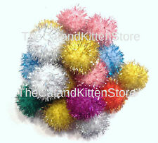 "10 Sparkle Ball Cat Toys Glitter Pom Poms, 1"" Kitten Balls & Craft Toy!"