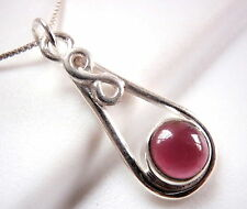 Garnet Necklace w/ Infinity Symbol Means Forever Love 925 Sterling Silver