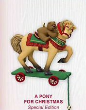 2010 Hallmark LE Repaint Ornament A PONY FOR CHRISTMAS Horse & Teddy Bear Series