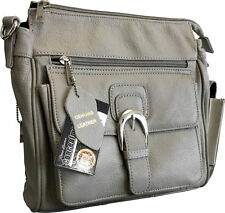 GRAY Locking Concealment Concealed Carry Holster Gun Pistol Purse Roma Leather
