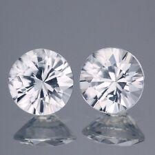 2Pcs / $29.99 Round 6.5MM. Matching Pair AAA Diamond Cut Natural White Zircon