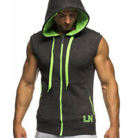 Mens Sleeveless Hoodie Hooded Sweatshirt Slim Fit Sports Casual Vest Jacket Tops