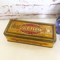 Antique Gold Flake Tobacco Tin Litho Box, Vintage Advertising W.D.&H.O. Willis'