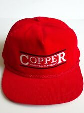 Vintage Copper Mountain Resort Ski Headwear Bump Bonnets Hat Cap Red Corduroy