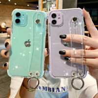 Glitter Case For iPhone 11 Pro Max SE XR XS 7 8 Silicone Strap Holder Soft Cover
