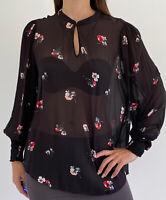 WITCHERY Black Sheer Floral Print Long Sleeve Keyhole Blouse Top Plus Size AU 16