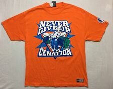 Wwe Authentic John Cena Orange Never Give Up Adult Xl T-Shirt Wrestling
