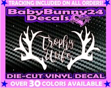 Trophy wife hunting deer buck antler Vinyl Decal Sticker Car hunter truck girl