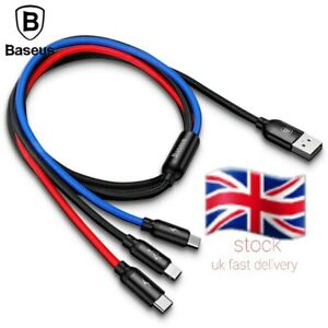 Baseus 3 in 1 Multi USB Charger Charging Sync Cable For iPhone Type C Micro usb