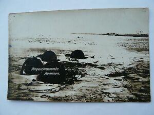 "WW1 German Navy Postcard. ""Angeschwemmte Seeminen"" Washed-up Sea Mines"