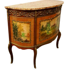Commode, Louis XV Style Mahogany with Marble Top, Rose and Amber Tones, Gorgeous