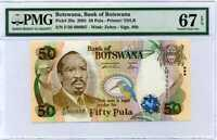 Botswana 50 Pula Nd 2005 P 28 Superb Gem UNC PMG 67 EPQ