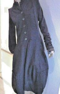 Mantelkleid Ballonmantel Ballonkleid gewalkte Wolle Größe S schwarz Materialmix