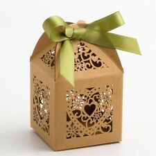 Filigree Kraft Heart Box PACK OF 10 Wedding Favour Gift LFB12