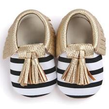Newborn Baby Kids Boy Girl Tassel Leather Shoes Non-slip Soft Crib Sole Sneakers