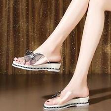 Womens Summer Fashion New Transparent Slippers Rhinestones Bows Low Heel Sandals