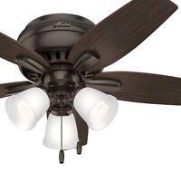 Hunter Fan 42 in. Flush Mount Ceiling Fan with 3 Lights, Premier Bronze