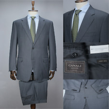CANALI EXCLUSIVE Grey 160'S WOOL Striped Full Canvas Suit 54 IT 44 US/UK 36X35