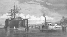 INDIA. Hydraulic Lift Graving Dock, Mumbai Harbour, antique print, 1872