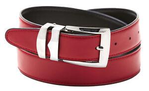 Men's Belt Reversible Bonded Leather Belts Silver-Tone Buckle Over 20 Colors