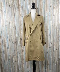 APC XS Beige Tan Twill Cotton Double Breasted Trench Coat Jacket Long $695