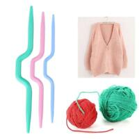 3pcs Plastic Twist Curved Needles Scarf Sweater Knitting DIY Weaving Tool Sewing