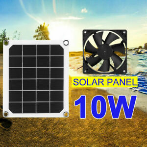 6V 10W Waterproof Solar Power Panel Exhaust Fan USB Charging for Greenhouse