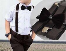 Boy Baby Kids Brown Coffee Velvet Bow Tie Suspenders Braces Sets 1-8 Years Old