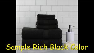 Mainstays Solid 6-Piece Bath Towel Collection-Rich Black(2 Bath, 2 Hand, 2 Wash)