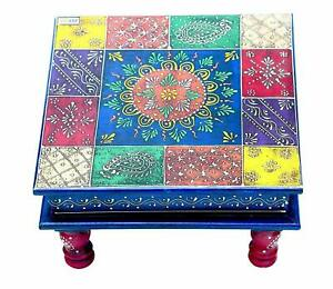 Handcaft Wooden Puja Chowki Patra Bajot Floral Painting Decorative Table