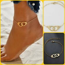 Unisex Gold Plated Adjustable Handcuff Freedom Friendship Gift Anklet