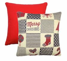 """CHRISTMAS PATCHWORK RED CREAM BLACK CHENILLE 17"""" - 43CM CUSHION COVER"""