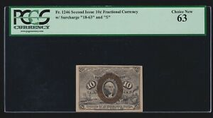 US 10c Fractional Currency 2nd Issue 18-63-S FR 1246 PCGS 63 Ch CU (-001)