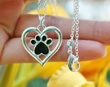 Paw Print Necklace Heart Silhouette Cat Dog Pet Lover Gift Sterling Silver Chain