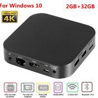 4K Mini PC Computer For Windows 10 Quad Core 2GB+32GB WiFi Bluetooth 4.0 HDMI