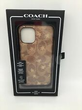 Coach Leather Slim Wrap Case for iPhone 11 5.8 Signature Khaki Gold Stars Brown