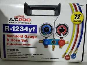 "R1234YF HVAC Air Conditioning Aluminum Manifold Gauge W/72"" Color Hoses A/C WW"