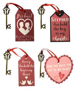 Personalised Key To My Heart Valentine Gift Love Token Christmas Xmas Keepsake