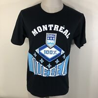 Vintage 90s 100% Made in Montreal Quebec Single Stitched T Shirt Men's S/M Black