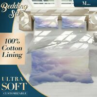 Clouds Sun Nature Sky Blue Quilt Doona Cover Set Fine Breathable Cotton