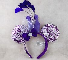 Disney Parks Minnie Mouse Glitter Crown & Feathers Jubilee Purple Ears Headband