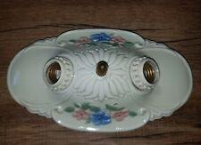 """Antique Vtg Art Deco Flush Mount Ceiling Fixture Light Porcelain Ceramic 6""""X11"""""""