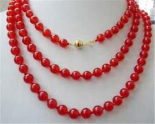 "HOT! 8mm round Natural red Ruby necklace 36""14k solid gold clasp ##HK1041"