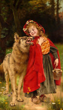 Little Red  Riding Hood by Gabriel Ferrier  Giclee Canvas Print Repro