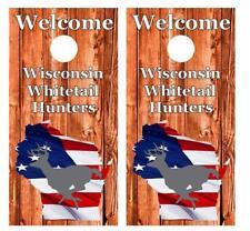 Welcome Wisconsin White Deer Hunters Cornhole Board Decal Wrap Free Squeegee