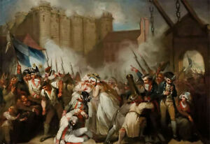 Oil painting Henry Singleton - The Storming of the Bastille Human progress war