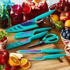 Colorful 11-Piece Kitchen Cutlery Kit Rainbow Titanium Teal Knife Set
